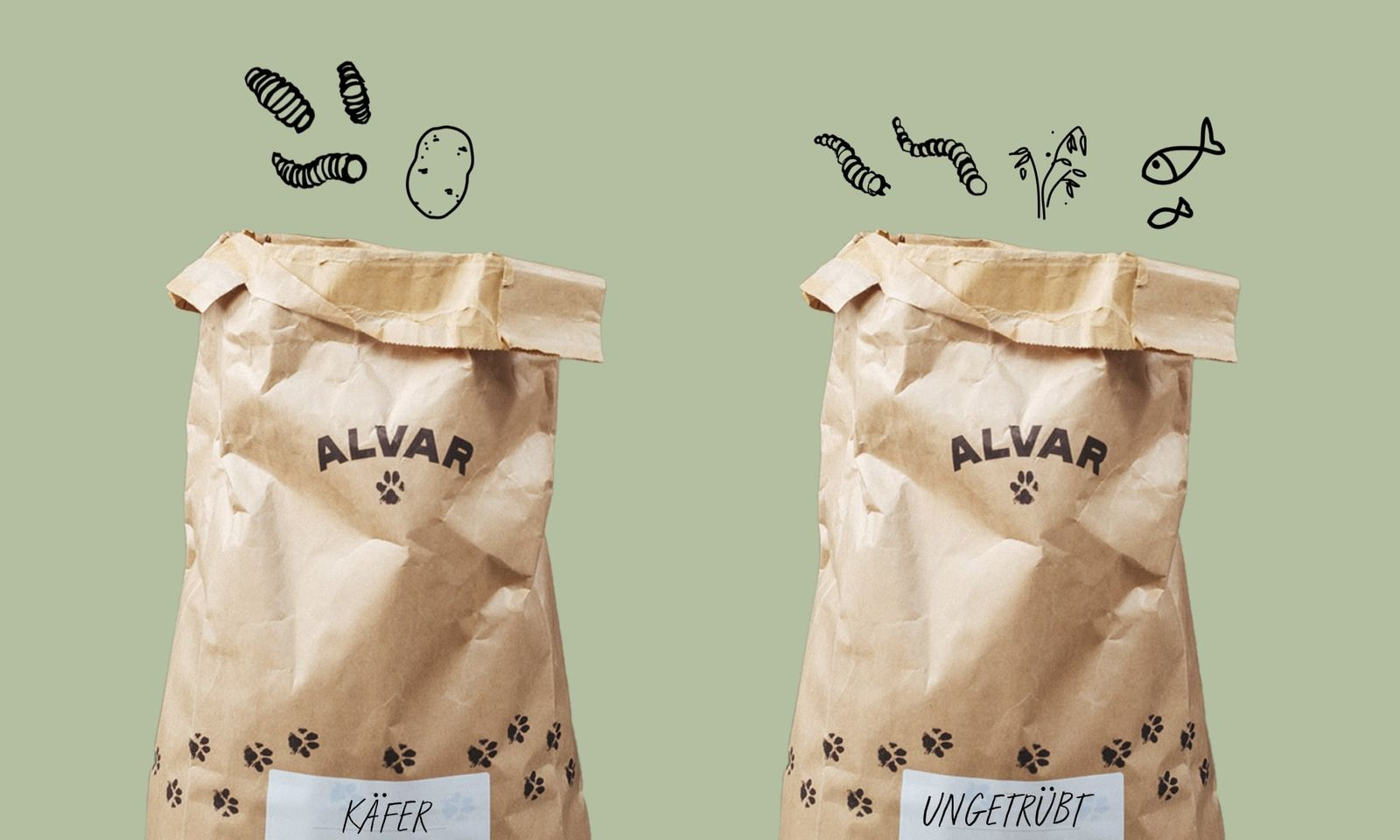 Alvars Null-Emission Futter mit Insektenprotein